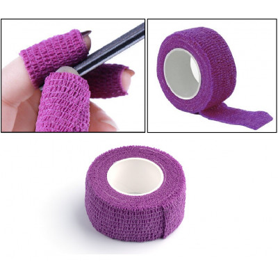 Bandage elastic tape (barrier protection) to protect nails (purple)